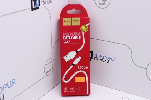 Кабель Hoco X27 Flash USB - microUSB 1.2m White