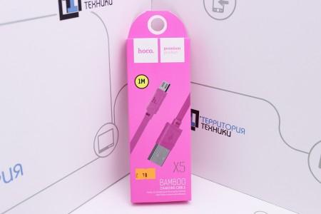 Кабель Hoco X5 BAMBOO Flash USB - microUSB 1m Pink