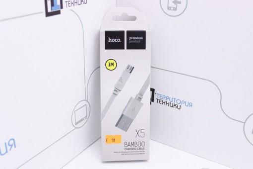 Кабель Hoco X5 BAMBOO Flash USB - microUSB 1m White