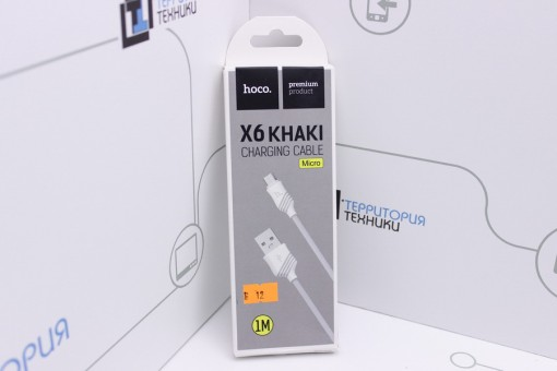 Кабель Hoco X6 KHAKI Flash USB - microUSB 1m White